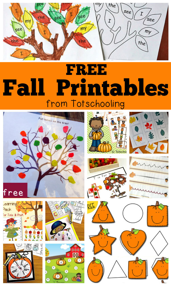 Free Fall Printables for Kids | Totschooling - Toddler, Preschool ...
