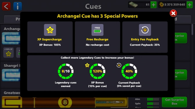 kelebihan cue legendary 8 ball pool