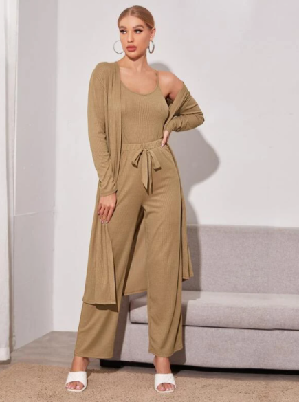 Camel Brown 3 piece loungewear set