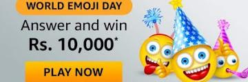 Amazon World Emoji Day Quiz Answers Win - Rs10,000 Amazon Pay Balance