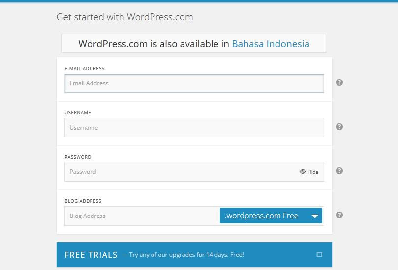 langkah langkah Membuat Blog Wordpress