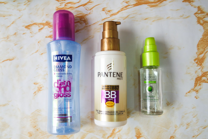 Summer hair care routine: nivea diamond gloss, pantene bb cream and Avon serum