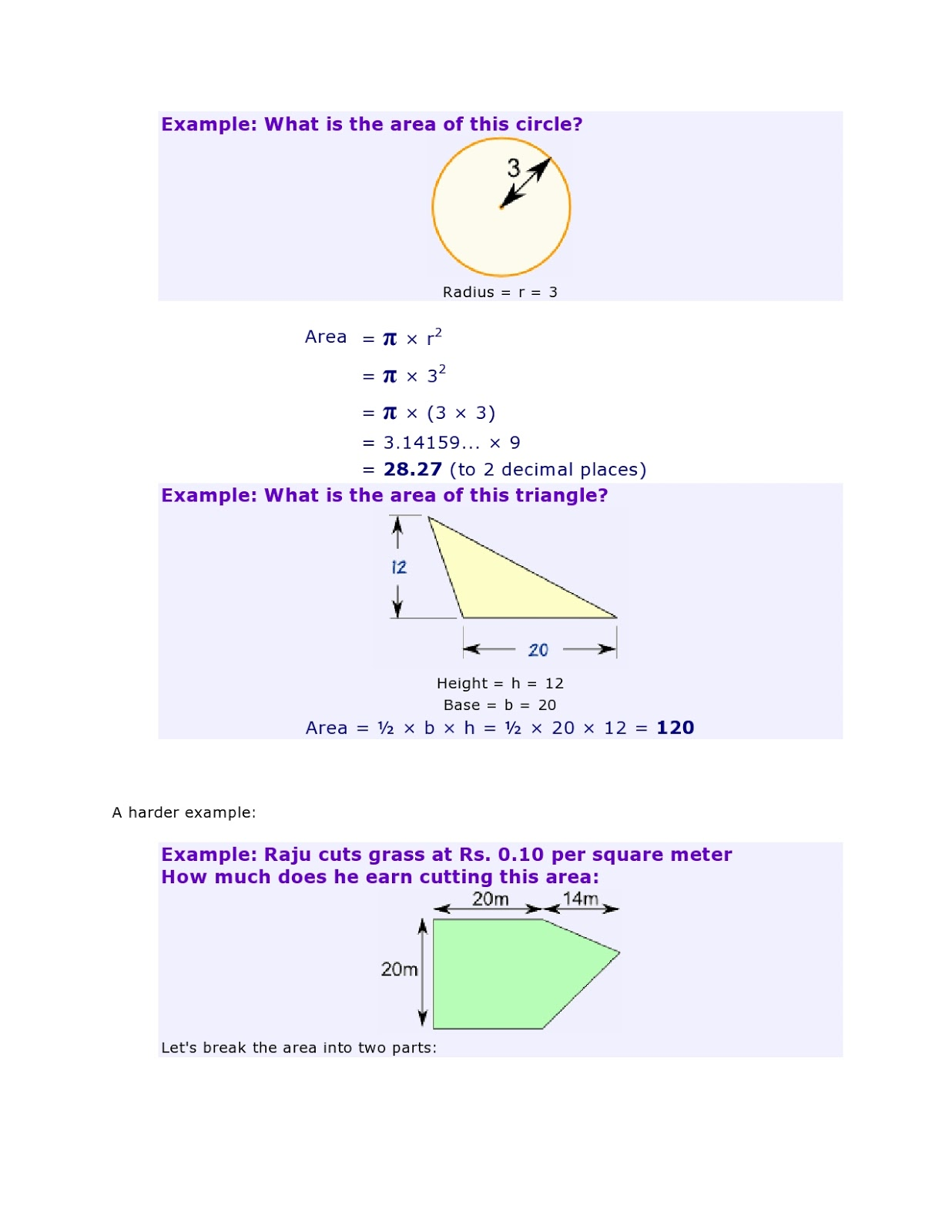 Mathematics Village Area Of Plane Shapes
