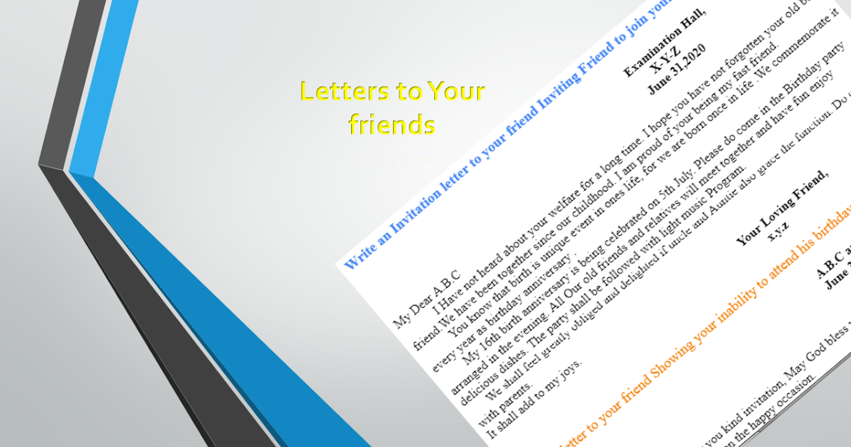 invitation letter to your friend