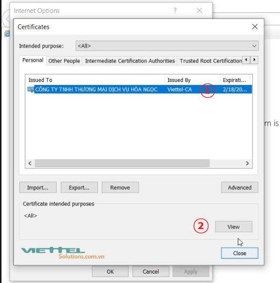 Hình 5 - Xem thời hạn chữ ký số Viettel-CA của doanh nghiệp trên IE