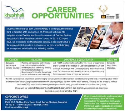 Khushhali Microfinance Bank Limited Jobs 2021 Islamabad
