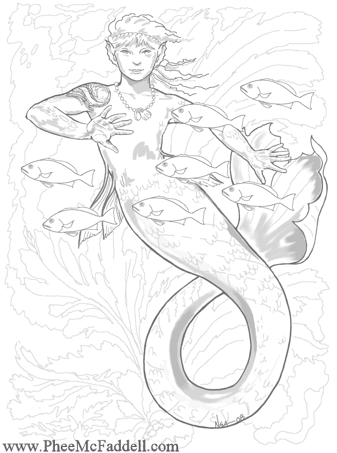 mermaid and fairy coloring pages - photo#32