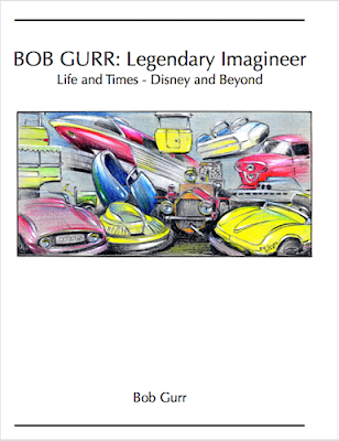 A white book cover with title and numerous Bob Gurr designed vehicles such as monorails, submarines and cars