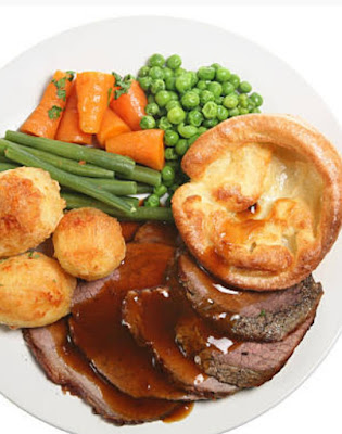 Yorkshire pudding with steamed vegetables