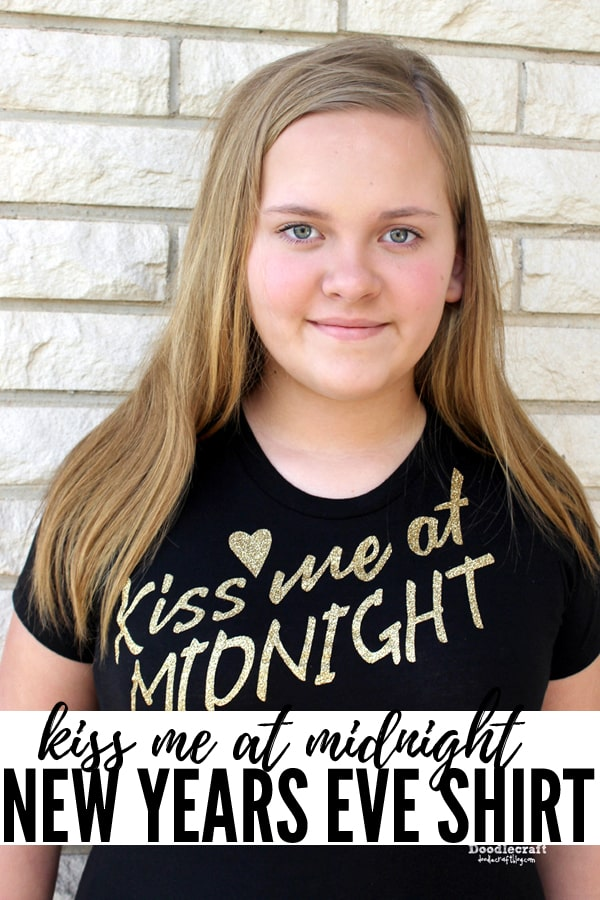 Make the perfect Kiss Me at Midnight Glitter Shirt DIY with gold iron-on glitter vinyl and the Cricut