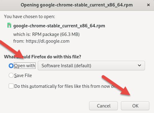 CentOS dnf install command for Google Chrome