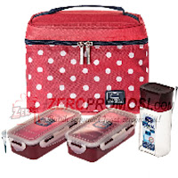 Lock & Lock HPL758S3DR Lunch Box 3P Set with Dotted Pattern Bag Red