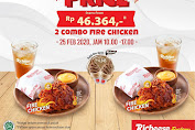 Promo HUT Richeese Factory Special Price 2 Combo Fire Chicken Rp.46.364 Periode 25 Februari 2020