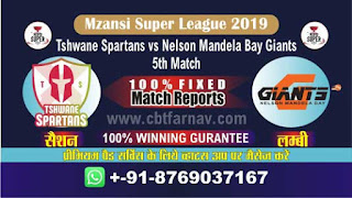 Mzansi Super League NMG vs TS 5th MSL 2019 Match Prediction Today Reports