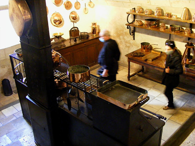 The kitchen at the Chateau of Chenonceau during Covid19 restrictions.  Indre et Loire, France. Photographed by Susan Walter. Tour the Loire Valley with a classic car and a private guide.