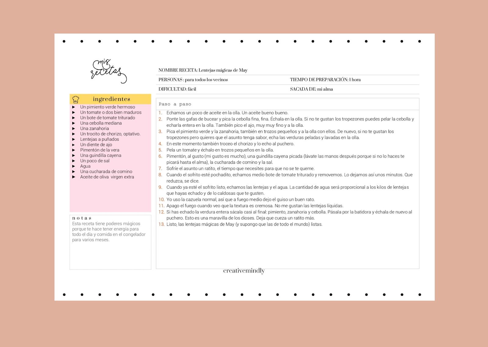 recetario imprimible editable gratis