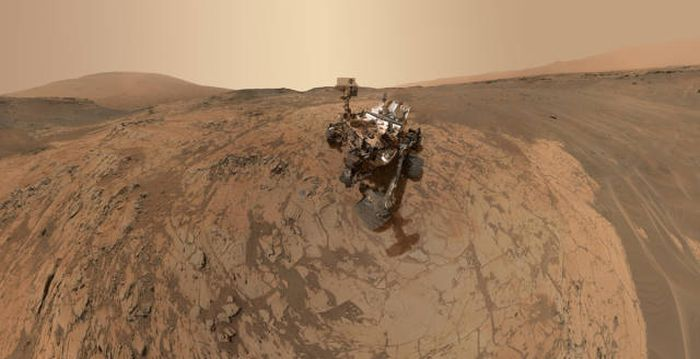 Curiosity rover on the surface of Mars