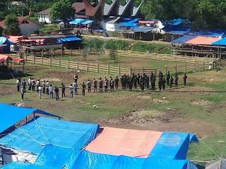 Hindari Kerumunan Personil Polres Torut Antisipasi adanya Adu Kerbau di Pangli