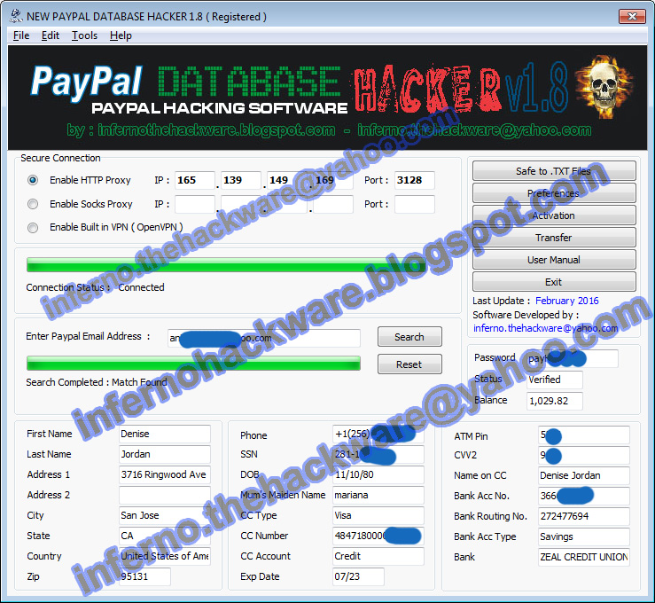 PayPal Database Hacker v1 8 By Inferno Hackware Inc  ::Lords Of Hack