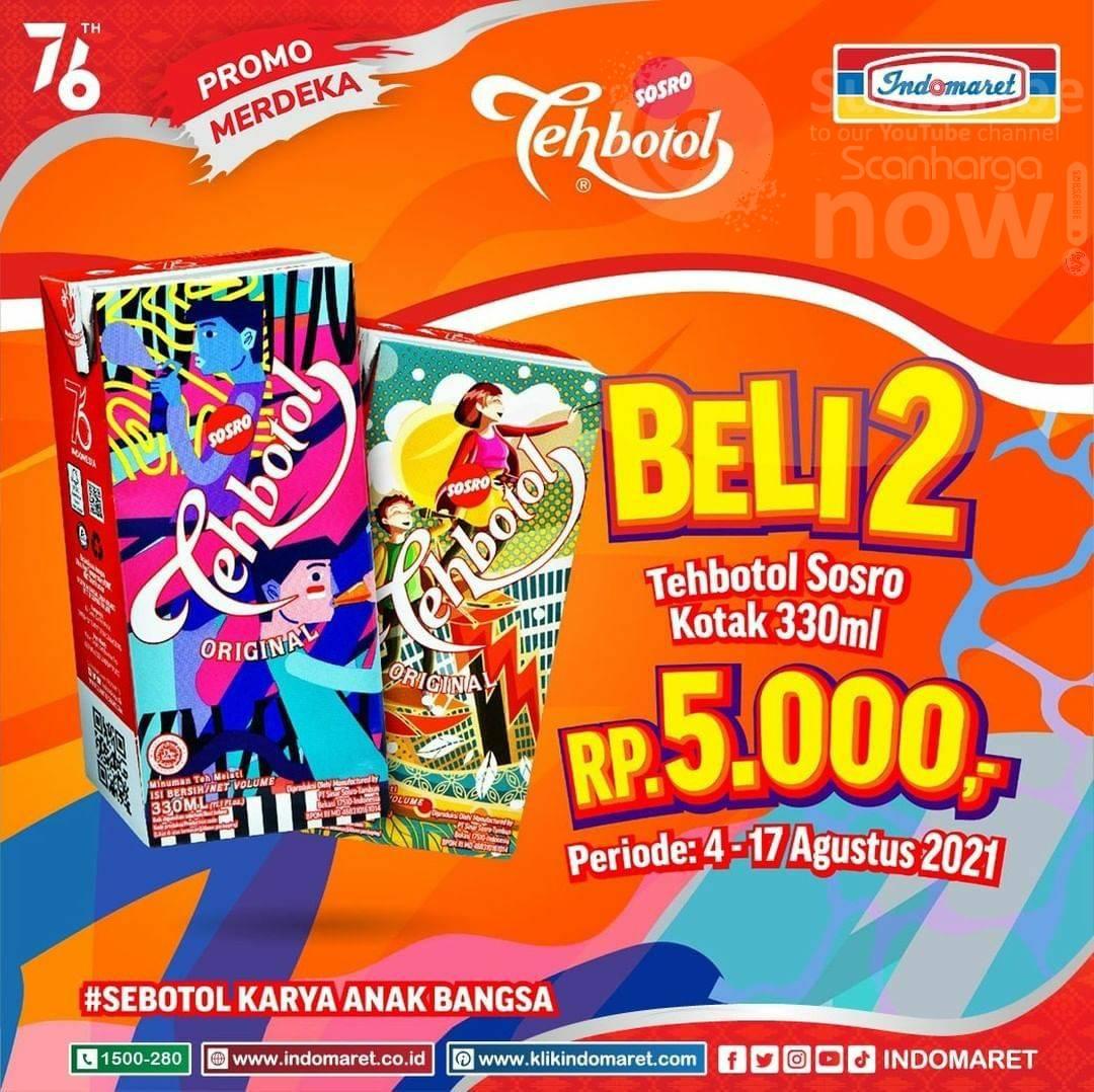 Indomaret Promo Merdeka - Beli 2 Tehbotol Sosro Kotak hanya Rp5.000
