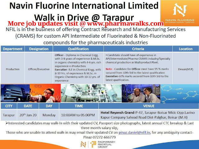 Navin Fluorine International Ltd - Walk-in interview for Production department on 20th Jan' 2020