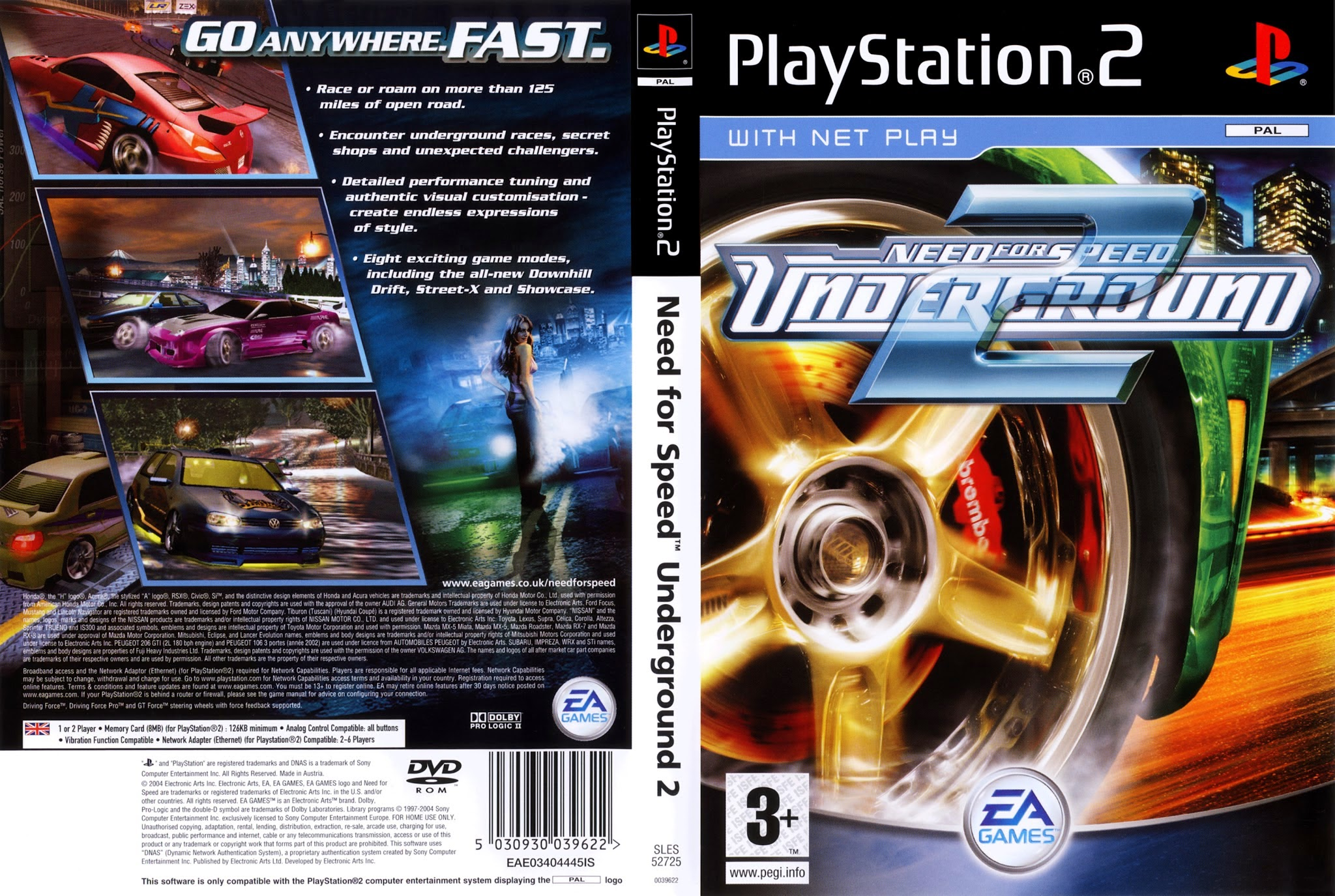 Need For Speed Underground 2 Playstation 2 Ultra Capas