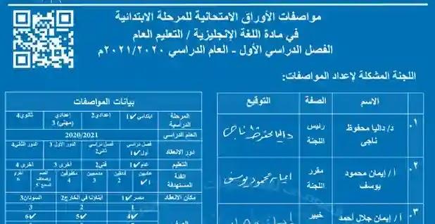 مواصفات الورقة الامتحانية فى اللغة الانجليزية لصفوف المرحلة الابتدائية 2021