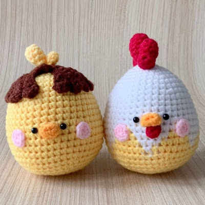 Петушки-яички крючком