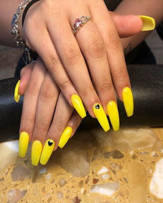 yellow nails coffin desings acrylic long trendy