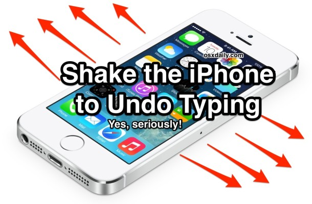 shake iphone to undo typing