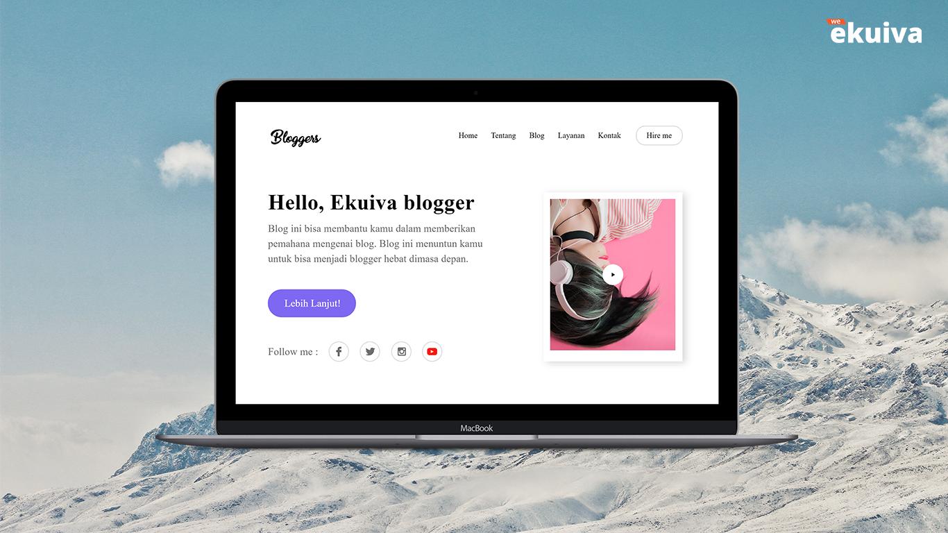 Web Desain untuk Blogger - Adobe XD - Ekuiva