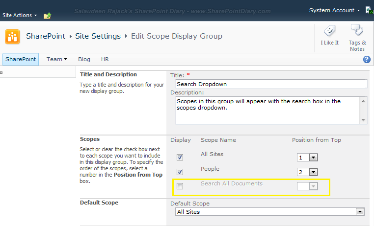 add custom scope to sharepoint search dropdown using