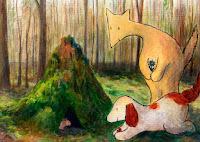 Postikorttikuvitus, missä Hulmu Hukka ja Haukku Koira tulevat tervehtimään hiirtä / Postcard illustration of Hulmu and Haukku dog coming to meet a mouse