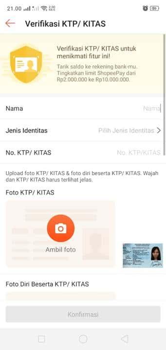 Lengkapi Data Identitas KTP / KITAS