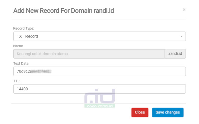 DNS Yandex Email Domain Sendiri