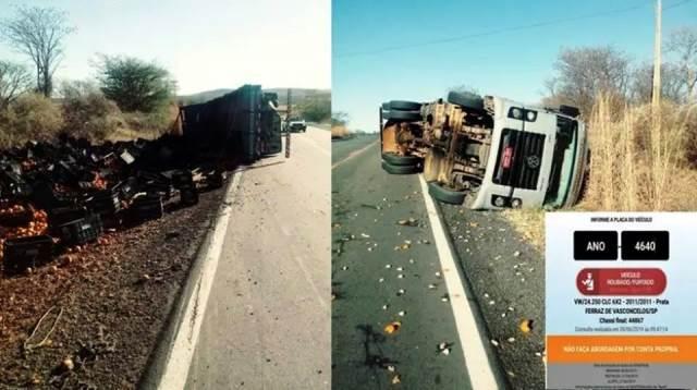 Caminhão com restrição de roubo tomba na BR-122, em Urandi