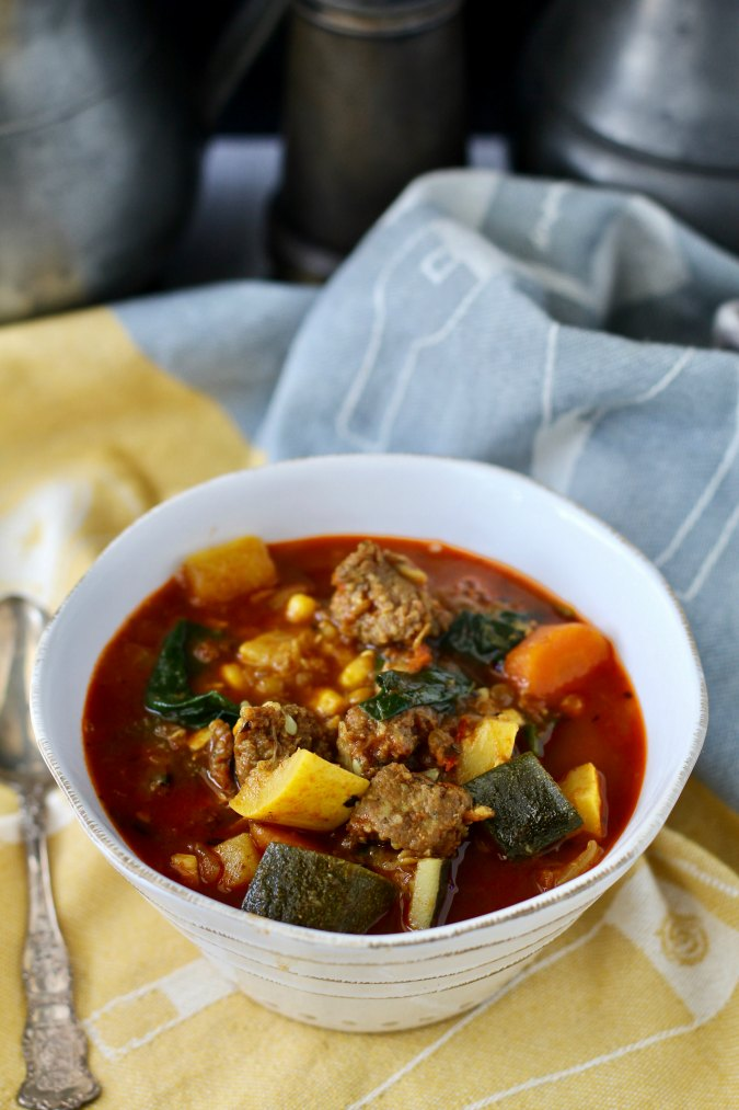Summer Vegetable Sausage and Lentil Soup with spinach