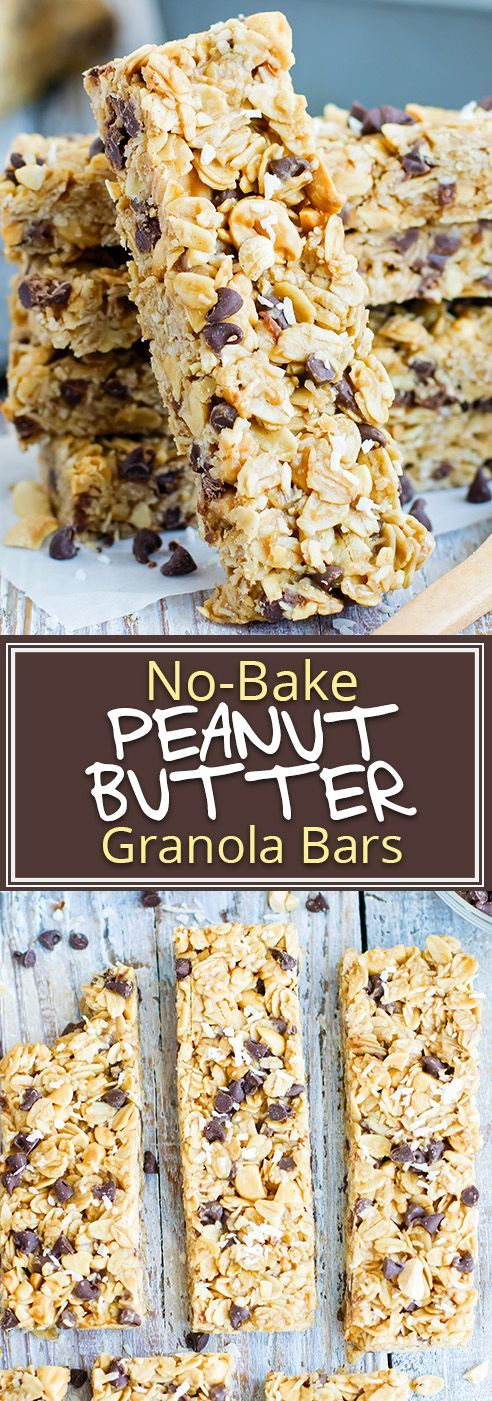 NO BAKE PEANUT BUTTER GRANOLA BARS WITH CHOCOLATE CHIPS