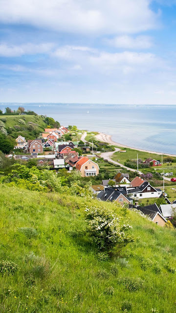 Coastal village wallpaper
