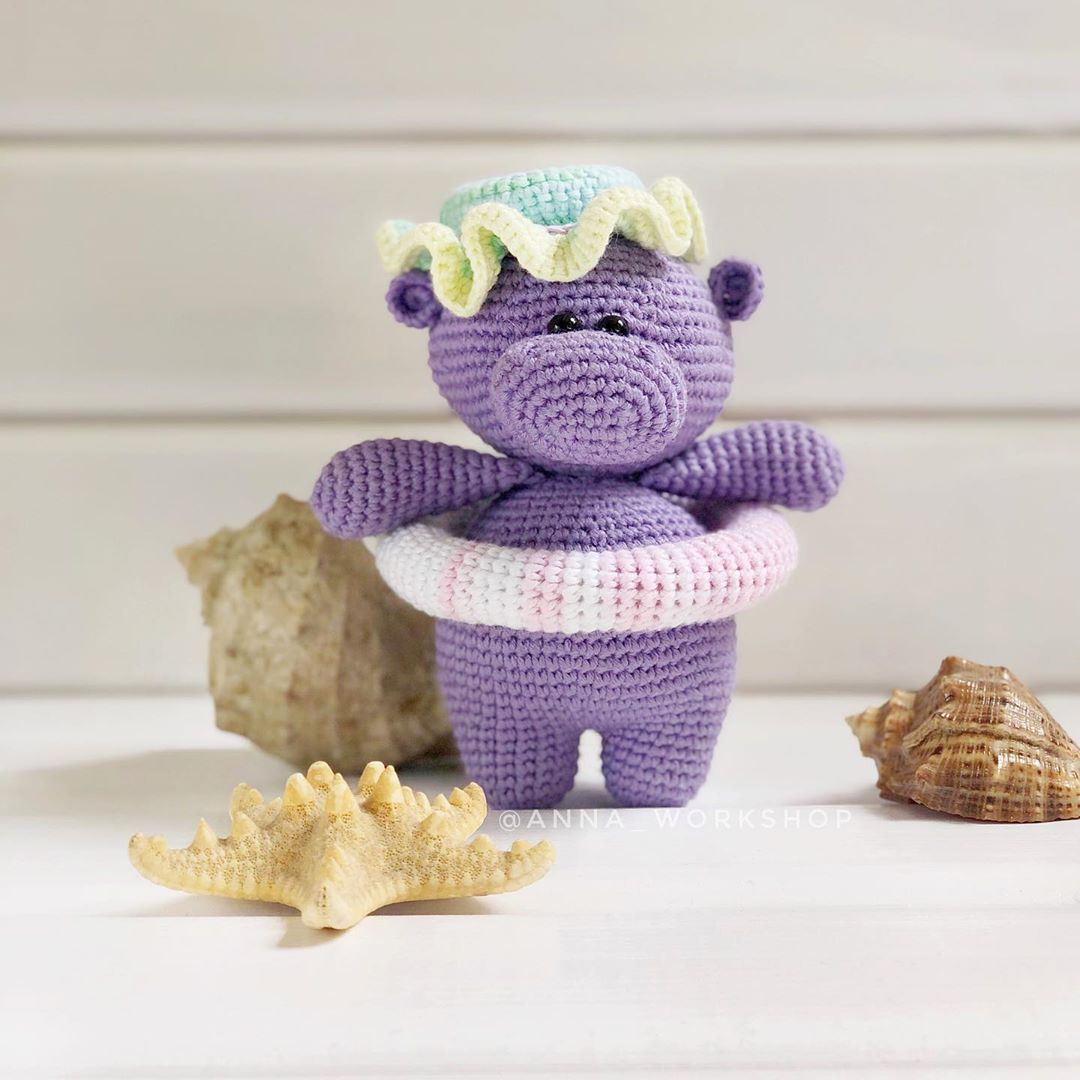 Hippo Amigurumi In Bikini - Free Crochet Pattern • Craft Passion | 1080x1080