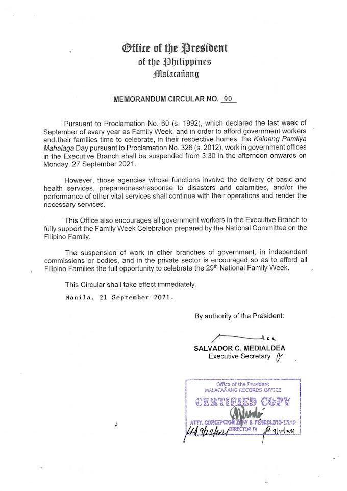 Memorandum Circular 90   Declaring the fourth Monday of September of every year as Kainang Pamilya Mahalaga Day.