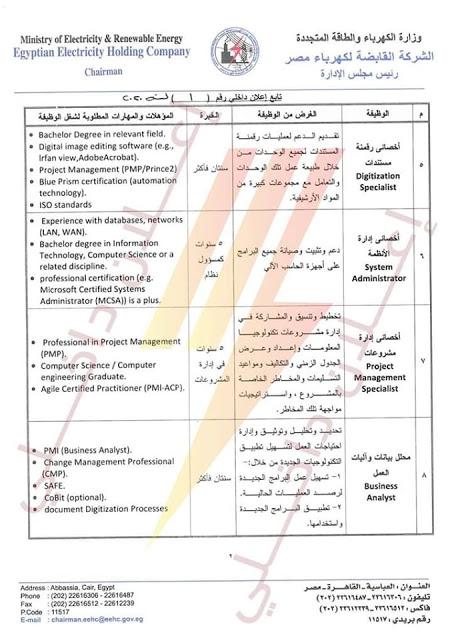 وظائف اليوم فى مصر, اعلان توظيف, وظائف شركة الكهرباء, وظائف وزارة الكهرباء, القابضة لكهرباء مصر