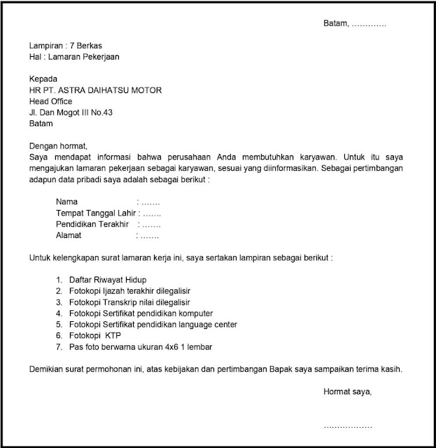 Contoh Surat Lamaran Kerja Pabrik (via: kotakpintar.com)