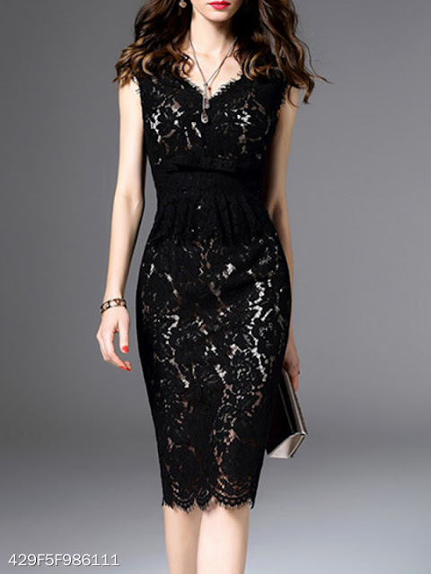 black bodycoon lace dress
