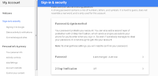 Halaman Sign in & Security Google
