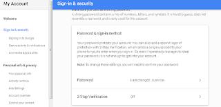 Halaman Sign in & Security Google