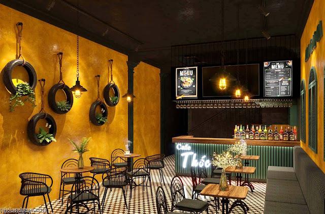 Phối cảnh quán cafe phong cách Vintage hoài cổ