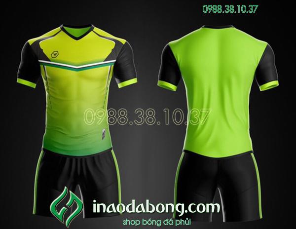 Áo bóng đá ko logo TA Ste màu xanh chuối