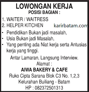 Lowongan Kerja Aiwa Bakery and Cafe