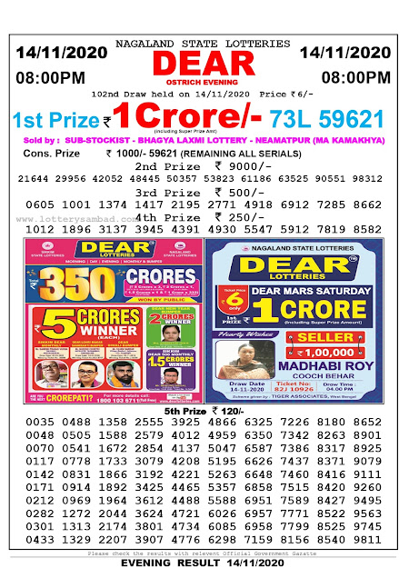 Lottery Sambad 14-11-2020 Today Results 8:00 pm, Nagaland State Lottery Sambad Today Result 8 pm, Sambad Lottery, Lottery Sambad Live Result Today